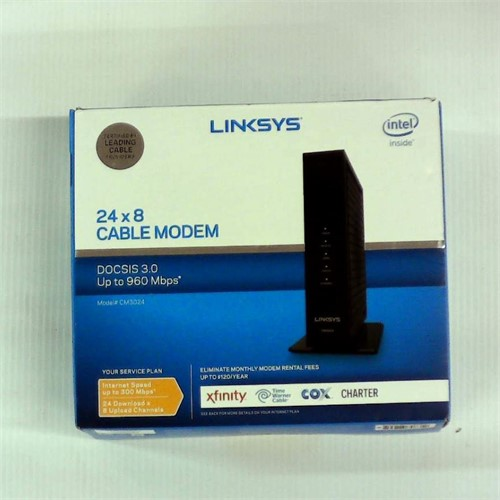 Refurbished Linksys High Speed DOCSIS 3.0 24x8 Cable Modem, Certified for Comcast/Xfinity, Time Warner, Cox & Charter (CM3024)