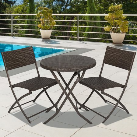 Best Choice Products Hand Woven Rattan 3-Piece Outdoor Bistro Set,