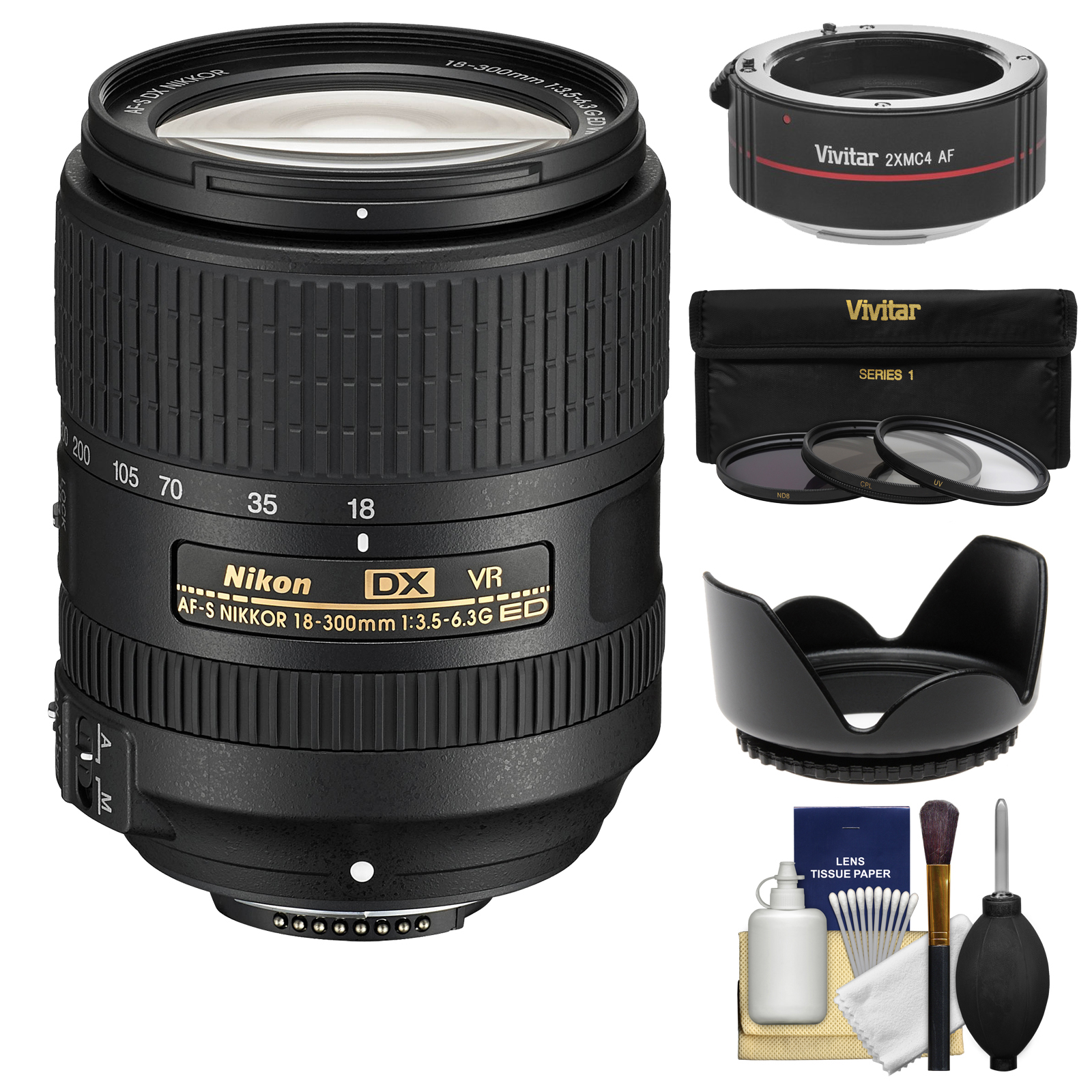 Nikon 18-300mm f/3.5-6.3G VR DX ED AF-S Nikkor-Zoom Lens & 2x Teleconverter + 3 Filters + Hood Kit for D3200, D3300, D5300, D5500, D7100, D7200 Camera