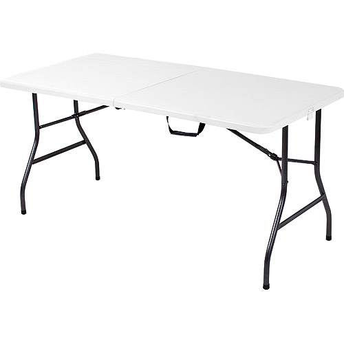 Superbe Mainstays 5 Foot Long Center Fold Table, White
