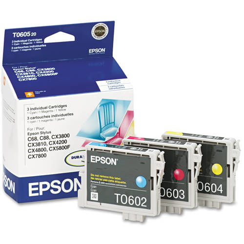 Epson T060520 Multi-Pack Color Ink Cartridges (Cyan, Yellow, Magenta)
