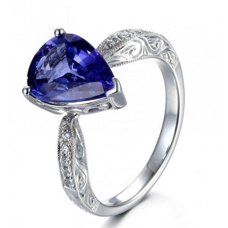 Diamond Blue Pear Sapphires Ring - Unique 2 Carat Pear Cut Shape Blue Sapphire and Diamond Antique Engagement Ring