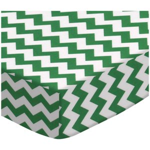 SheetWorld Fitted Oval Crib Sheet (Stokke Sleepi) -  Forest Green Chevron Zigzag
