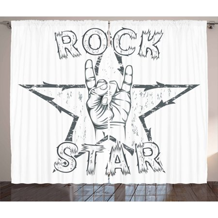 Popstar Party Curtains 2 Panels Set, Rock Star Theme High Sign and Star Figure Grungy Sketch Gesture Vintage, Window Drapes for Living Room Bedroom, 108W X 96L Inches, Black and - Rock Star Party Theme