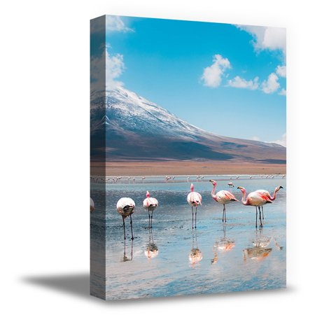 Awkward Styles Sea Picture Decor Flamingo Room Wall Decor Flamingo Canvas Decor Ideas Ready to Hang Picture Home Decor Ideas Flamingos Illustration Pink Room Wall Art Beach Decals Room Decoration