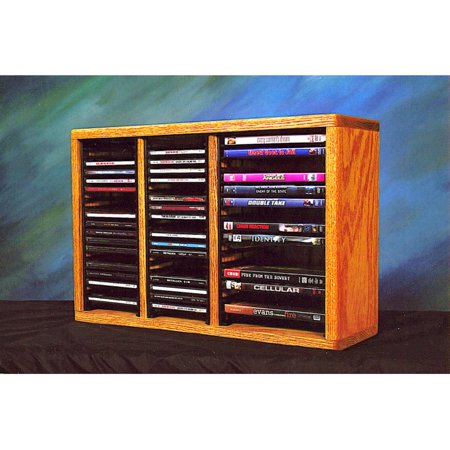 The Wood Shed Solid Oak Desktop / Shelf 40 CD and 16 DVD Media Rack with Individual Locking (Solid Oak Cd Dvd)