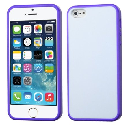 Insten Glassy Solid White/Purple Gummy Case For Apple iPhone SE 5S 5 - image 3 de 3