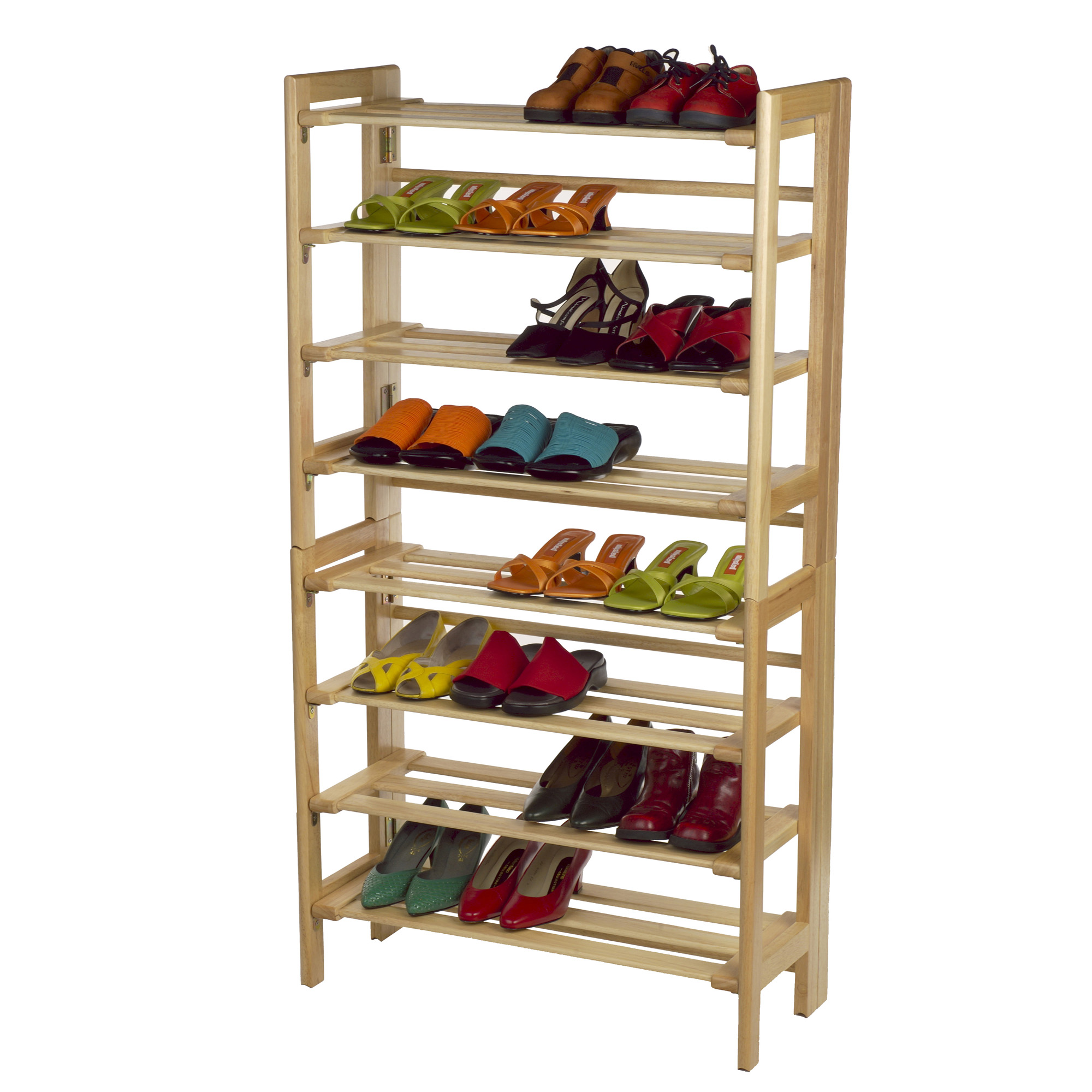 Winsome Wood Clifford Foldable 4 Tier Shoe Rack, Natural Finish    Walmart.com