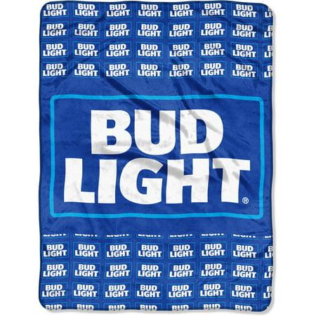 """Anheuser-Busch Bud Light """"Patches"""" 46"""" x 60"""" Micro Raschel Throw"""