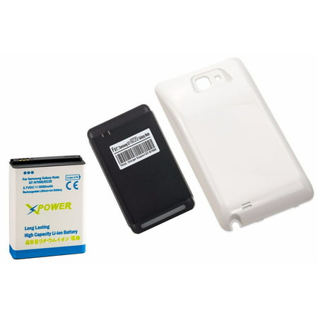 High Capacity Battery Door - X Power 5000mAh High Capacity Battery + White Door + Charger For Galaxy Note 1