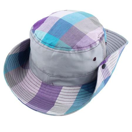 d2508e6f3e3634 Fisherman Outdoor Fishing Plaid Pattern Wide Brim Summer Beach Bucket Hat  Gray - image 1 of ...