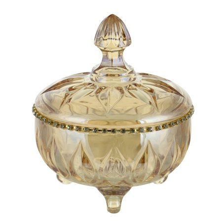 "Glass Lidded Candy Dish (Round Amber Hued Glass Candy Dish w/Crystal Accents & Lid 5"" x)"