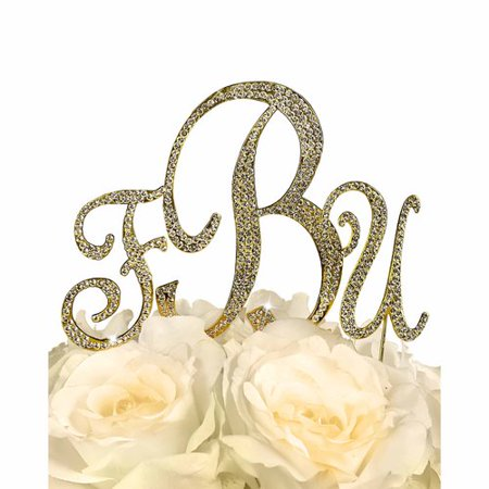 Unik Occasions Sparkling Collection Monogram Cake Topper, Gold
