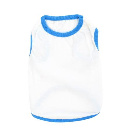 Unique Bargains Summer Round Neckline Pet Dog Puppy Tank Top Shirt Clothing Blue White XXS