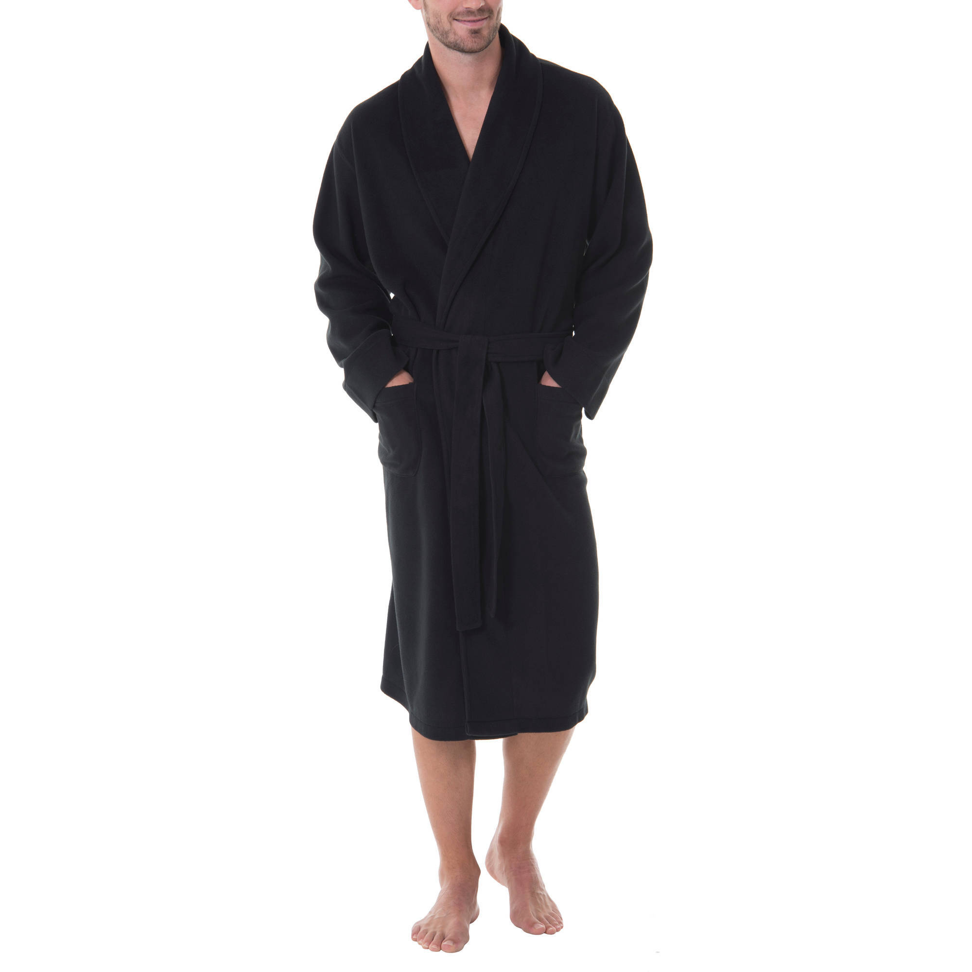 Men's Solid Fleece Robe