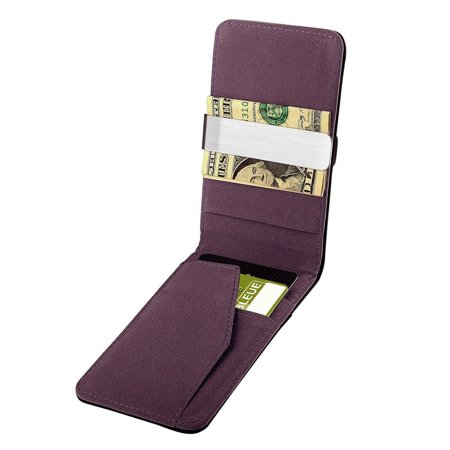 Zodaca Black/Purple Mens Faux Genuine Leather Silver Money Clip Wallets ID Credit Card Holder (Gift Idea) - image 2 de 4