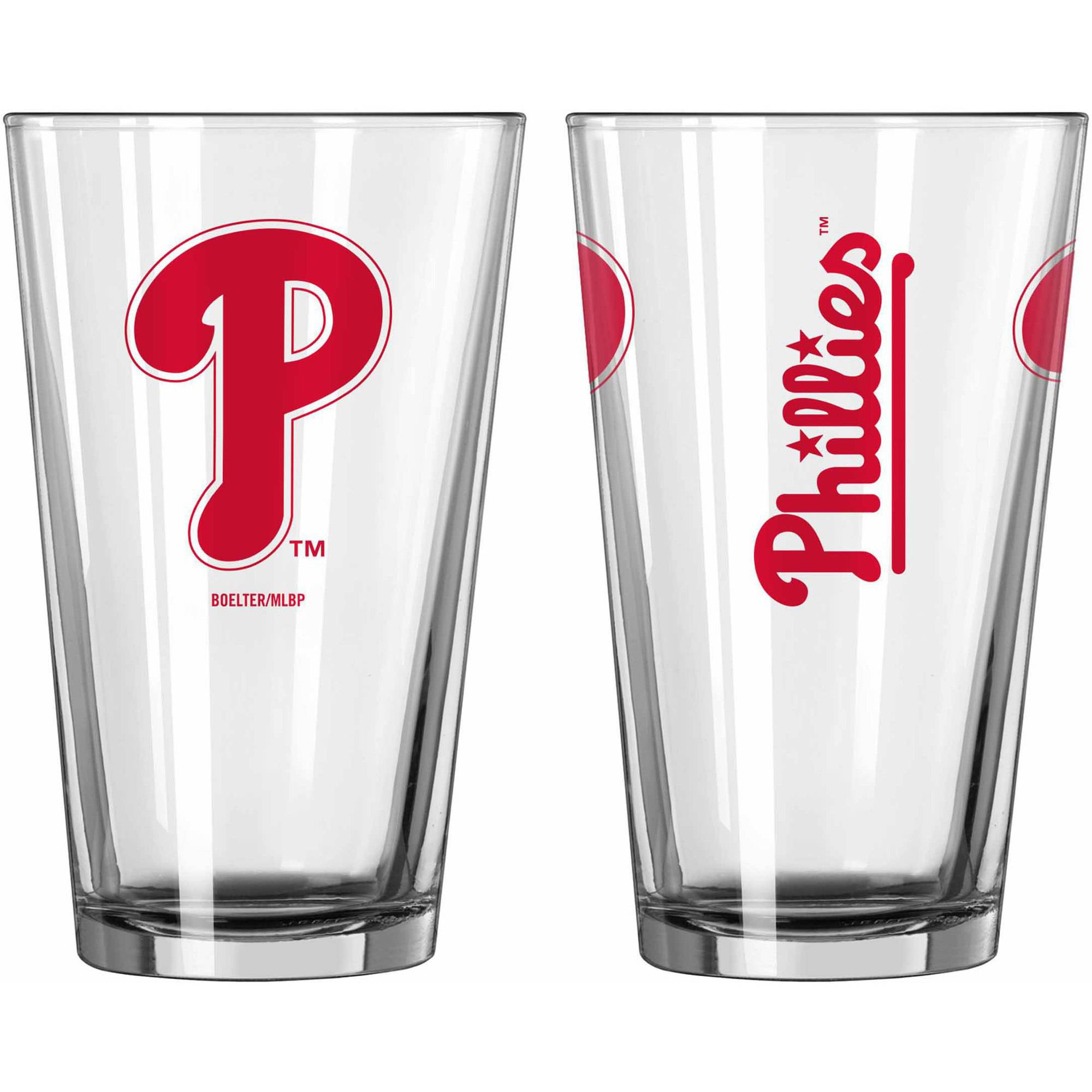 Boelter Brands MLB Set of Two 16 Ounce Game Day Pint Set, Philadelphia Phillies