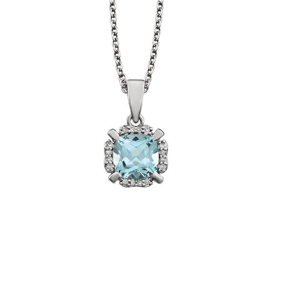 Cushion Sky Blue Topaz & Diamond Necklace in 14k White Gold, 18 Inch by Black Bow Jewelry Company