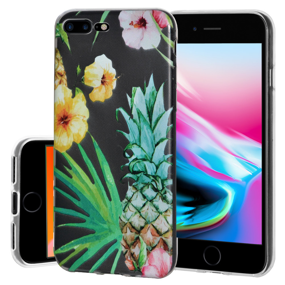 iPhone 8 Plus Case, Soft Gel Skin TPU Cover Fashion Style Slim Designer Clear Back Cover - Tropical for iPhone 8 Plus , Semi transparent, Flexible, Added Grip