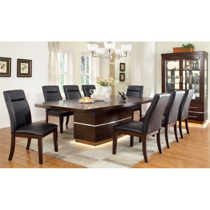 Furniture Of America Braylin 9 Piece Extendable LED Dining Set