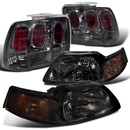 Spec-D Tuning 1999-2004 Ford Mustang Smoke Tint Headlights + Altezza Rear Tail Lamp (Left + Right) 99 00 01 02 03 04