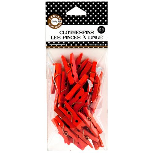 "Mini Clothespins 1"" 25/Pkg-Orange"