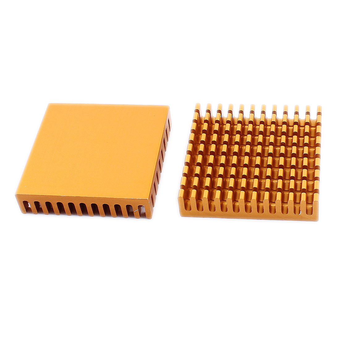 2pcs 45x45x10mm Aluminium Heat Sink Cooler Radiator Fin Heatsink Gold Tone - image 1 de 1