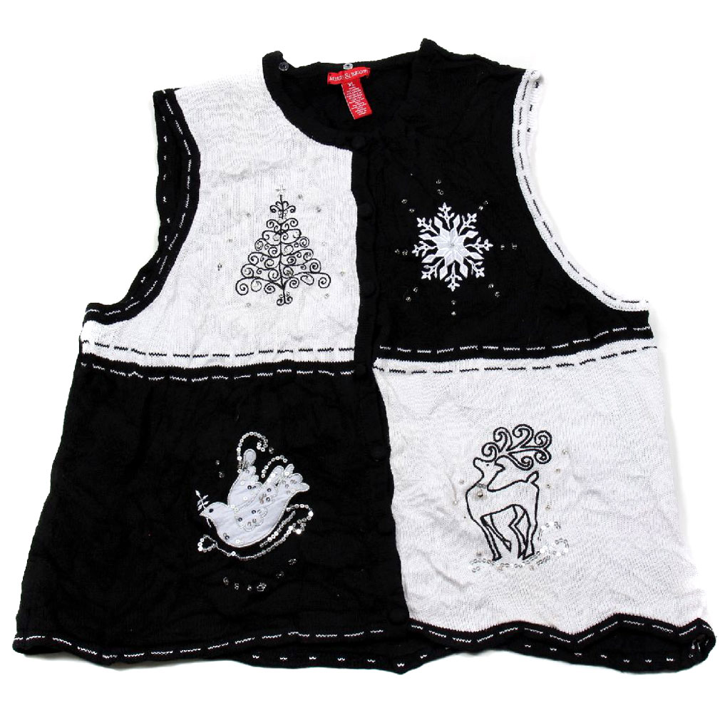 BuyYourTies - XVEST-2922 - Black - Ugly Christmas Sweater Vest - Ladies - X-Large