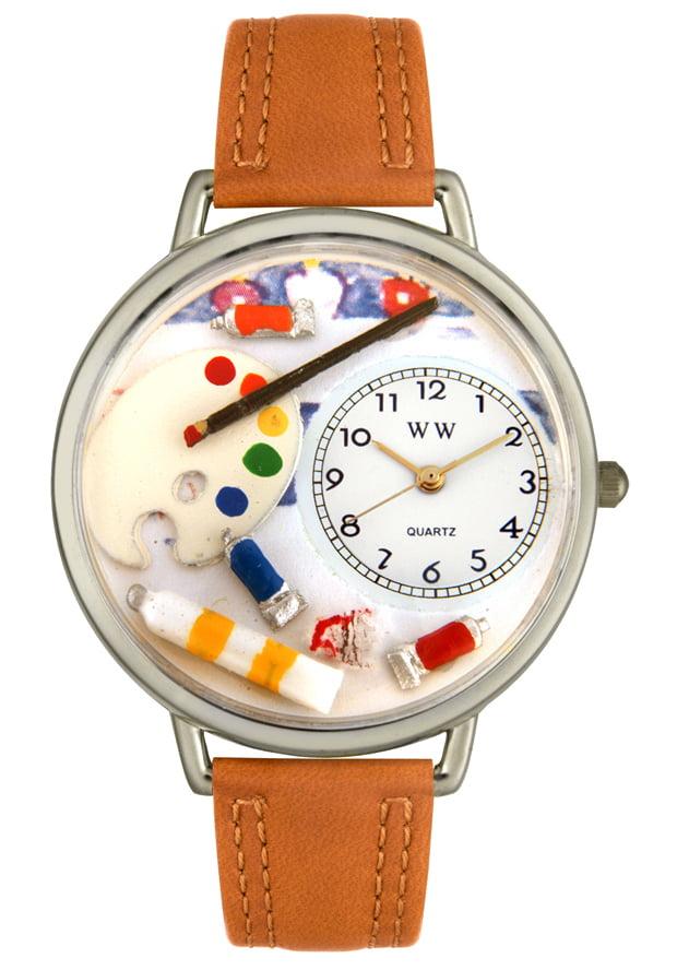 Whimsical U0410002 Unisex Artist Theme Tan Leather Watch
