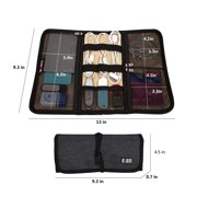 Travel Gear Organizer Electronics Accessories Bag, Cable Sleeves Small Gadgets Carry Case Storage Rollup Bag Pouch for Charger USB Cables SD Memory Cards Earphone Flash Hard Drive - Blue
