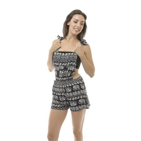 4ba98280c eForCity - Women Soft Tribal Print Romper Jumpsuit Racer Overalls Size  Medium (M) - Black/White - Walmart.com