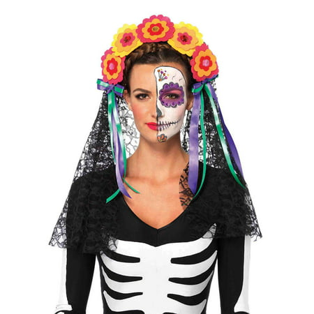 Leg Avenue Day Of The Dead Flower Headband Adult Halloween - Flower Halloween Costume