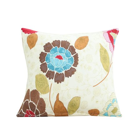 Home Polyester Flower Print Square Decor Pillowcase Cushion Cover 18 x 18 Inches