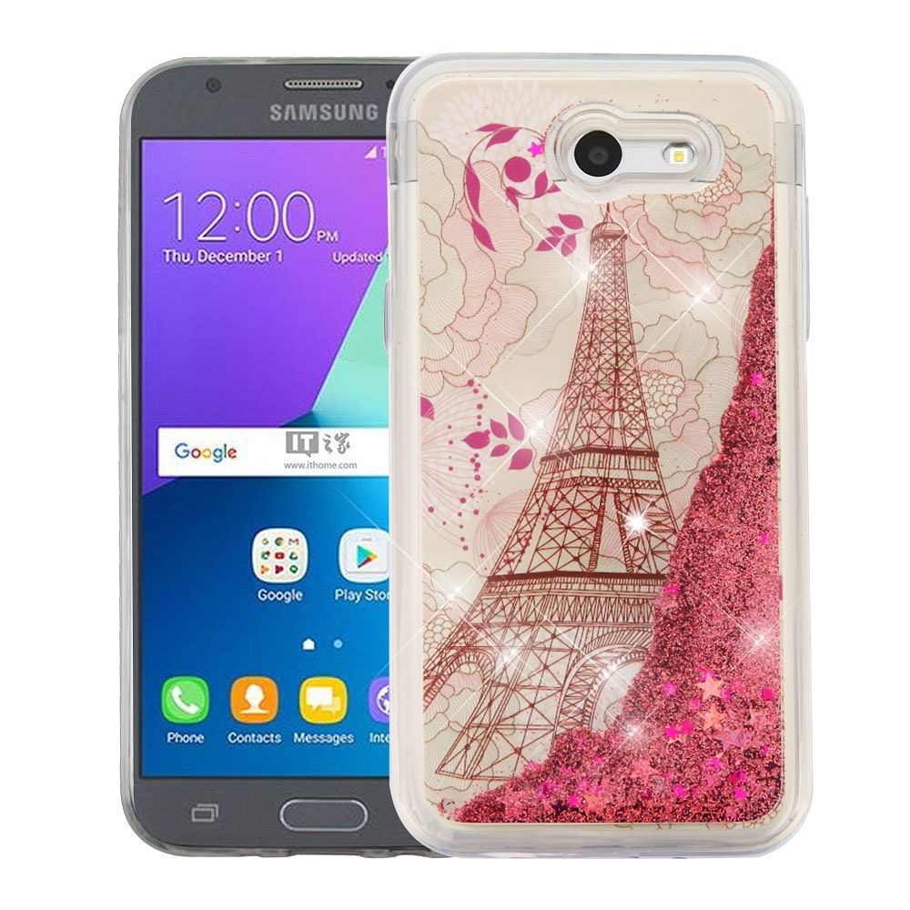 Galaxy J3 Luna Pro case by Insten Eiffel Tower/Gold Stars Quicksand Hybrid Case For Samsung Galaxy Amp Prime 2/Express Prime 2/J3 (2017)/J3 Emerge (+ USB Cable)