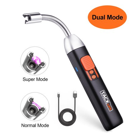 Lighter, Tacklife Dual Mode Ignition Electric Arc Lighter with Safety Switch Design, 360°Extra Long Flexible Neck USB Rechargeable Li-ion Battery lighters - ELY07