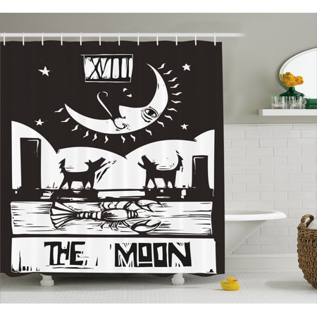 Moon Shower Curtain Brown White Drawing Lobster Wolves Crescent Stars Tarot Card Design Fabric Bathroom Set With Hooks Charcoal Grey
