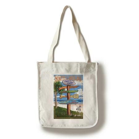 Pawleys Island, South Carolina - Destinations Sign - Lantern Press Artwork (100% Cotton Tote Bag - Reusable)