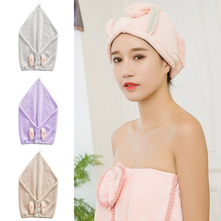 Rabbit Ear Fast Drying Hair Towel Quick Dry Hair Hat Wrapped Towel Bathing Cap - image 2 of 6