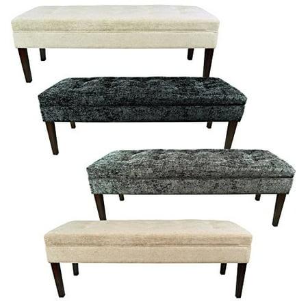 MJL Furniture Kaya Diamond Tufted Atlas Upholstered Long Bench Off White
