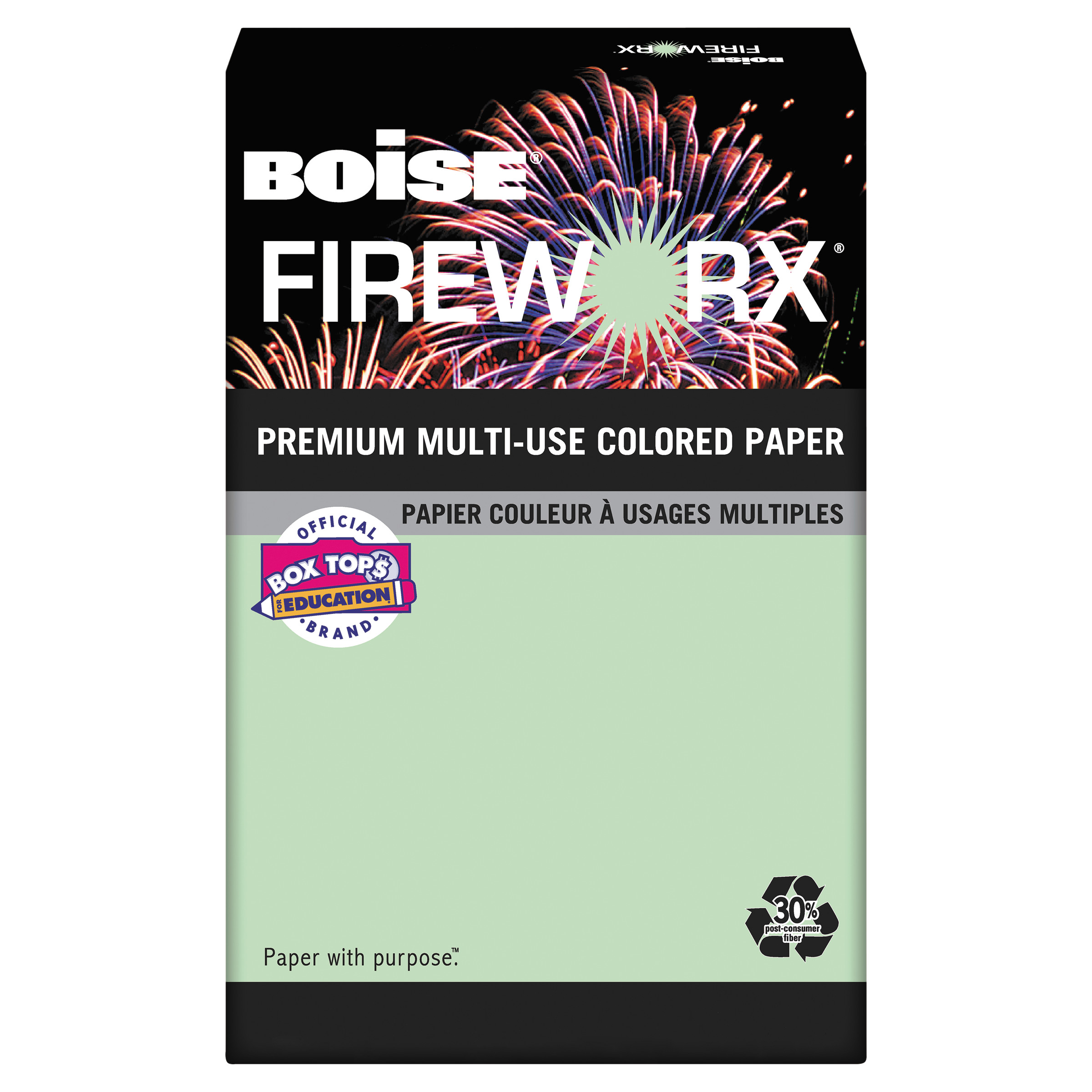Boise FIREWORX Colored Paper, 24lb, 8-1/2 x 11, Popper-mint Green, 500 Sheets/Ream -CASMP2241GN