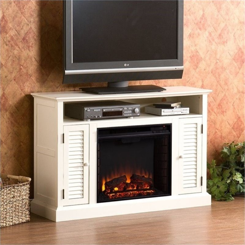 "Bowery Hill 48"" Electric Fireplace TV Stand in Antique White"