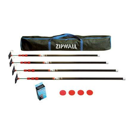 Zipwall Dust Barrier (Zipwall ZP4 With 4 Steel 10 Ft Poles Dust Barrier)