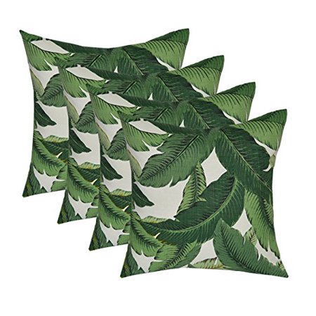 """Set of 4 - Indoor / Outdoor 17"""" Square Decorative Throw / Toss Pillows - Tommy Bahama - Swaying Palms - Aloe - Green Tropical Palm Leaf Fabric"""