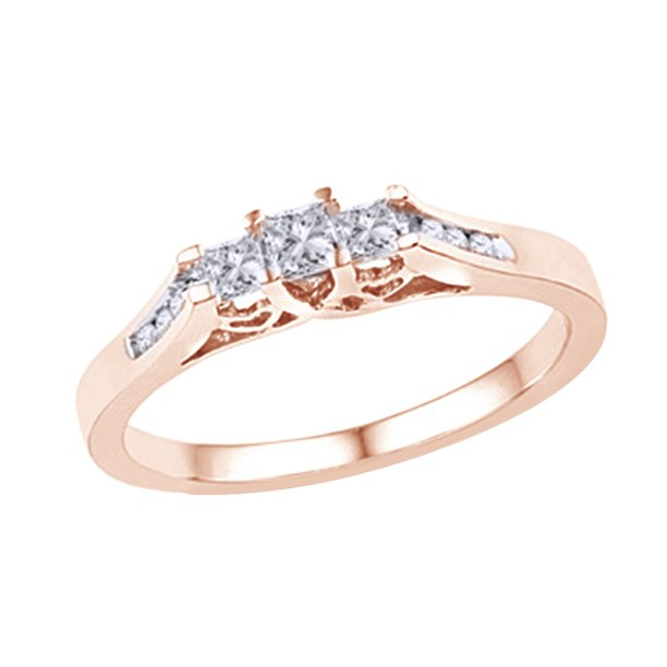 Princess Cut White Natural Diamond Three Stone Ring in 10k Rose Gold (0.25 Cttw)