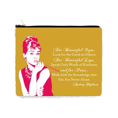 Audrey Hepburn Halloween Makeup (Audrey Hepburn Makeup Quote in Vintage Style Pink and Rust Gold - 2 Sided 6.5