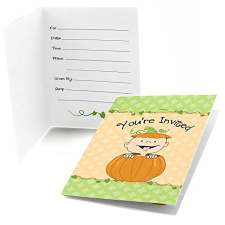 Little Pumpkin Caucasian - Fill In Fall Baby Shower or Birthday Invitations (8 count)