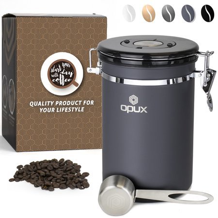 OPUX Stainless Steel Coffee Canister | Airtight Coffee Container with Scoop | Coffee Storage with CO2 Valve and Date Tracker
