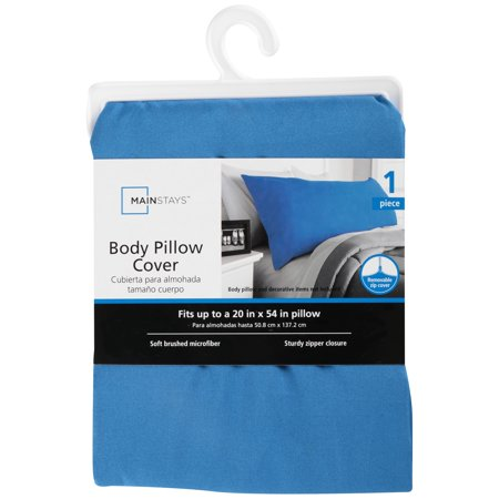 "Mainstays Microfiber 20"" x 52"" Blue Body Pillow Cover, 1 Each"