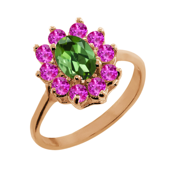 1.35 Ct Oval Green Tourmaline Pink Sapphire 18K Rose Gold Ring by
