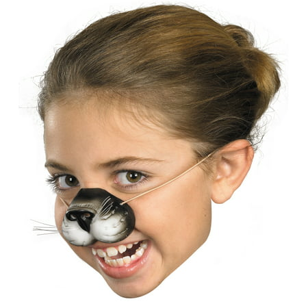 Black Cat Nose with Elastic Adult Halloween Accessory (Halloween Cat Woman Make Up)